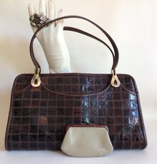 Jane Shilton Brown Turtle Skin 1960s Vintage Handbag Buff Leather Lining & Purse