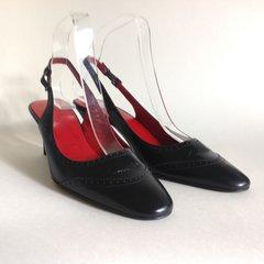 UNISA Black Leather Adjustable Slingback Almond Toe Slim Heel Shoe UK 4 EU 37