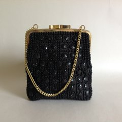 Golden Name Vintage Black 1960s Beaded Clutch Bag Handbag, Gold Strap