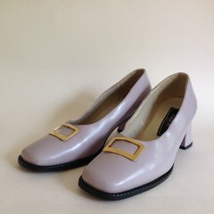 Cerruti 1980s Vintage Style Pale Lilac Pearl All Leather Court Shoe UK 6 EU 39