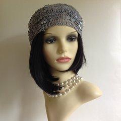 Grey Silver Crochet Vintage Inspired Sequin Skull Cap Beanie Beret