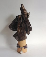 Vintage 1950s TaupeCrocheted Fish Net Stocking Wrist Length Gloves Size 6.5/7