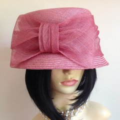 Marks and Spencer Rose Pink Wedding Church Dress Cloche Hat Made from 100% Straw.