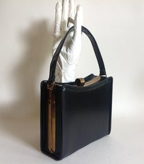 Black Faux Leather1940s Vintage Handbag With Black Moir Fabric Lining