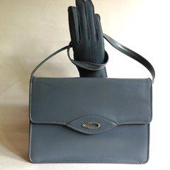 Vintage 1970s Mid Grey All Leather Shoulder Bag Beige Suede Lining Fitted Purse