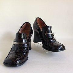 """Carvela Vintage 1980s Brown Moc Croc Patent Leather 3.25"""" Block Heel Slip On Shoe"""