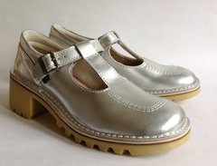 "KICKERS Kopey Silver Leather T Bar Mary Jane 2.25"" Block Heel Shoe UK 7 EU 41"
