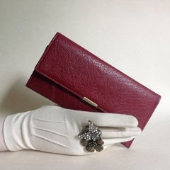 Large Vintage 1960s Claret Textured Leather Coin Purse Wallet With Claret Fabric Lining