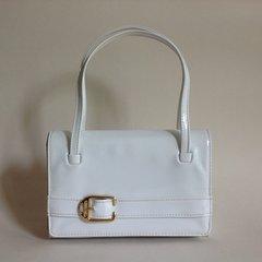 Vintage 1960s Mod Go Go White Faux Patent Handbag Clean Blue Fabric Lining