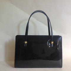 Georgio Corsini Black Patent Leather 1950s Vintage Handbag Black Leather Lining