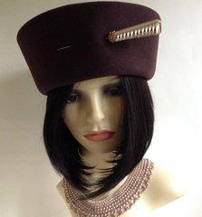 C&A Brown Felt 1980s Vintage High Top Pill Box Hat Banana Rama Style Church Wedding Dress Hat
