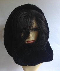 Soft Plush Faux Fur Black Neck Roll Warmer Snood Scarf 1950s Vintage Inspired