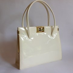 Acadia Ivory 1960s Patent Leather Vintage Handbag With Dark Tan Suede Lining Kelly Bag Mad Men