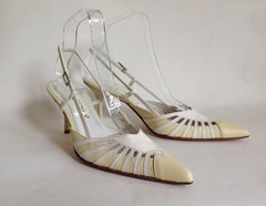 ESINO Cream and Ivory Leather Pointed Slingback 3.25 Stiletto Shoes Size Uk 4 EU 37