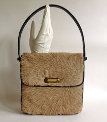 1960s Kangeroo Vintage Handbag Shoulder Bag Black Suede & Leather Lining