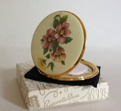 KIGU Vintage 1970s Flower Enamelled Brass Stratton Convertible Compact With Original Boots Leaflet Sifter Pouch Pouch and Box