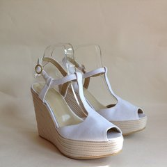 "L.K. Bennett White 5"" Wedge Heel 1.5"" Platform T Bar Peep Toe Sandal UK 6 EU 39"