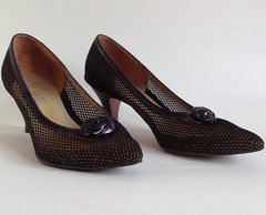 BECTIVE Bronze Mesh & Leather 1950s Vintage Court Shoes UK 3.5 EU 36.5 Mad Men
