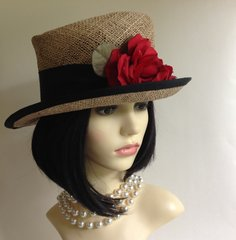 James Egleton Straw Ladies Summer Church Racing Dress Hat Rose & Ribbon Detail