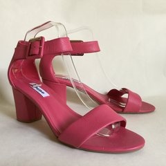 DUNE Salmon Pink Madeira Ladies Leather Ankle Strap Sandals Block Heels