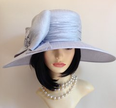 Genevieve Louis Large Ladies Pale Blue Dress Hat With Large Bow Detail.Sold With Hat Box