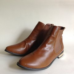 SH Tan Faux Leather Almond Toe Flat Heel Pull On Chelsea Ankle Boots