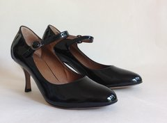 "HOBBS Black Patent All Leather Mary Jane 3"" Slim Contour Heel Shoe Size UK 4.5 EU 37.5"