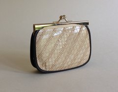 Vintage 1970s Ivory Snake Skin & Brown Faux Leather Coin Purse With Kiss Clasp