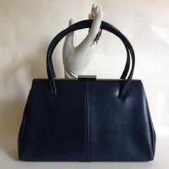BHS Ladies Large Blue 1960s Vintage Handbag Faux Leather Fabric Lining Kelly Bag
