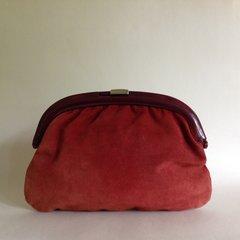 Vintage 1940s Russet Suede Clutch Bag Celluloid Frame Black Suede Lining