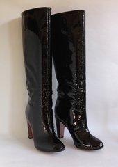 "ZARA Black Patent Leather Slim Fit 3.5"" Slim Heel Pull On Boots UK 4 EU 37 - small fit."