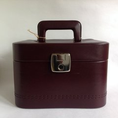 Burgundy Faux Leather 1980s Vintage Vanity Make Up Travel Train Case And Key With burgundy diamond patterned fabric lining.