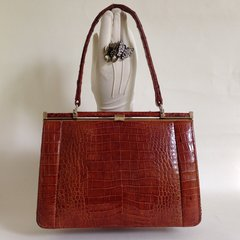 Yip Lee Woh Well Loved Chestnut Crocodile 1950s Vintage Handbag With Ivory Leather Lining