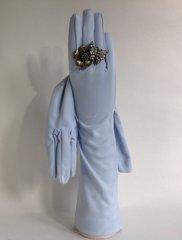 Cornelia James 1950s Nylon Simplex Baby Blue Vintage Evening Gloves Size 7.5