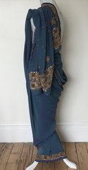 Sari Saree Hand Sewn Sari Jade With Gold Sequin And Bead Embellishments Size 210 X 41 Inches