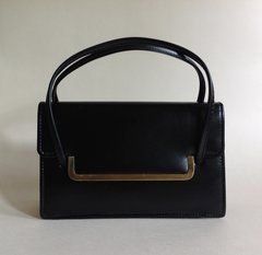 Black Small Faux Leather 1960s Twiggy Style Vintage Handbag Fabric Lining
