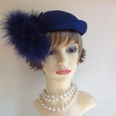 Vintage 1960s Blue Pill Box Hat With Ostrich Feather Detail Wedding Church Races