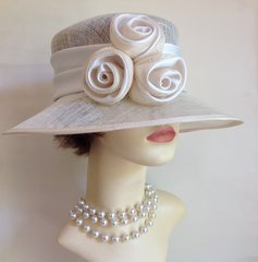Formal Ivory Sinamay Hat With Rosettes to Front From BHS Wedding Church Races Garden Parties Goodwood