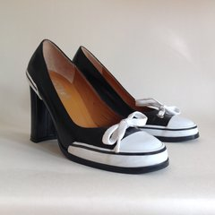 OFFICE Black Leather Uppers With White Rubber Trim Block Heel White Shoe Lace Bow Mod GoGo Court Shoe UK 4 EU 37