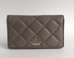 Kate Spade Taupe Quilted Leather Wallet Purse With Fabric & Leather Lining