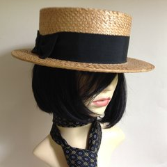 Vintage Men's Traditional Straw Boater Hat Petersham Ribbon Leather Sweat Band