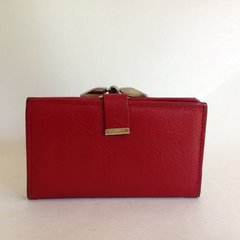 Vintage 1960s Red Textured Leather Coin Purse Wallet Red Leather Lining Mad Men