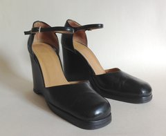 FAITH Vintage 1970s Black Leather Platform Wedge Mary Jane Shoes UK 4 EU 37