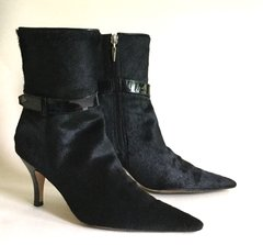 HOBBS Black Mid Calf Pony Skin Leather 3.25 High Heel Boots Size UK 4 EU 37