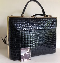 Jane Shilton Vintage 1980s Large Black Moc Croc Leather Handbag Shoulder Bag With Care Card