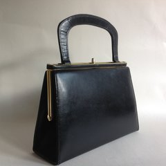 EROS Black All Leather Suede Lined 1960s Classic Vintage Handbag Elbief Frame