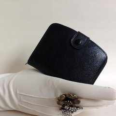 Black Textured Leather 1950s Vintage Coin Purse Wallet Black Leather Lining