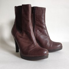 Cherokee Brown Leather Almond Toe High Heel Zip Up Ankle Beatle Boot UK 4 EU 37