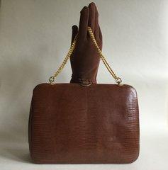 Tan Lizard Skin 1950s Vintage Handbag Coffee Leather Lining Chain Handles