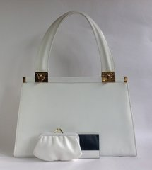 Jane Shilton White Leather 1960s Vintage Handbag White Matching Purse Mirror